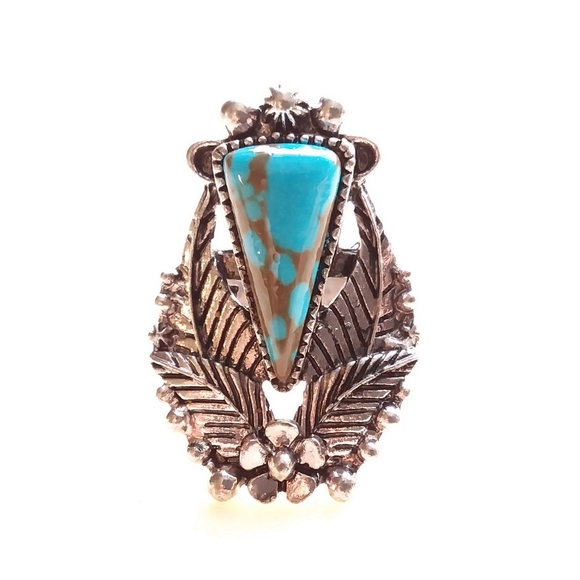 Silver Turquoise floral triangle western ring NWOT